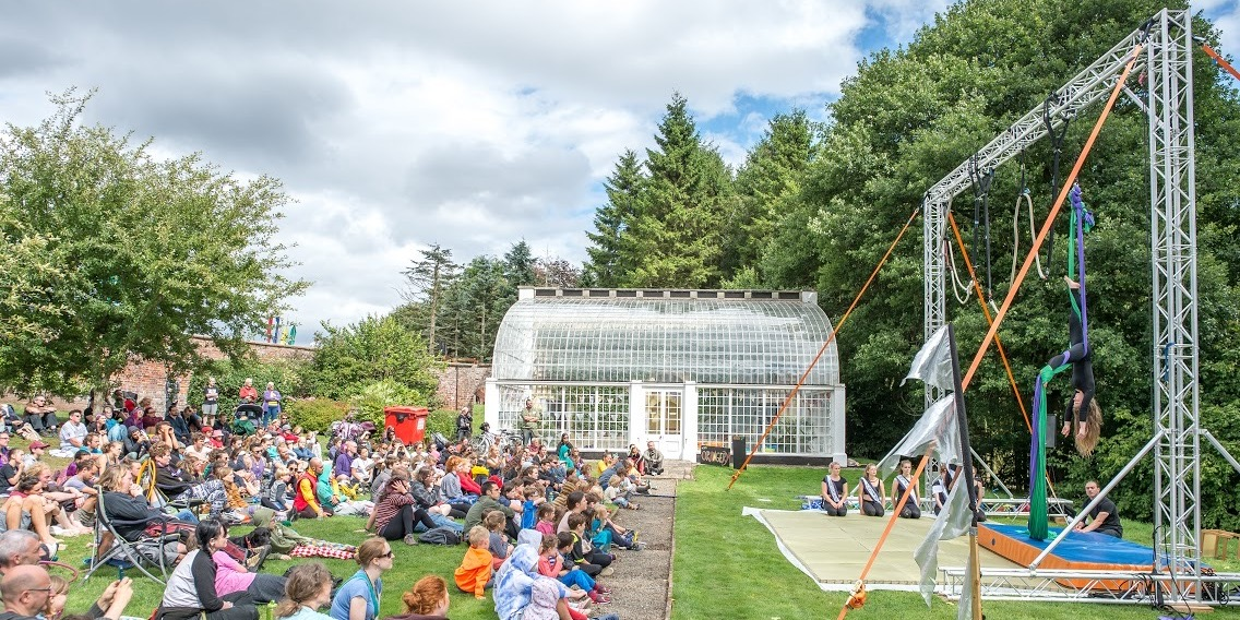 Silks act for large audience, at PLAY festival