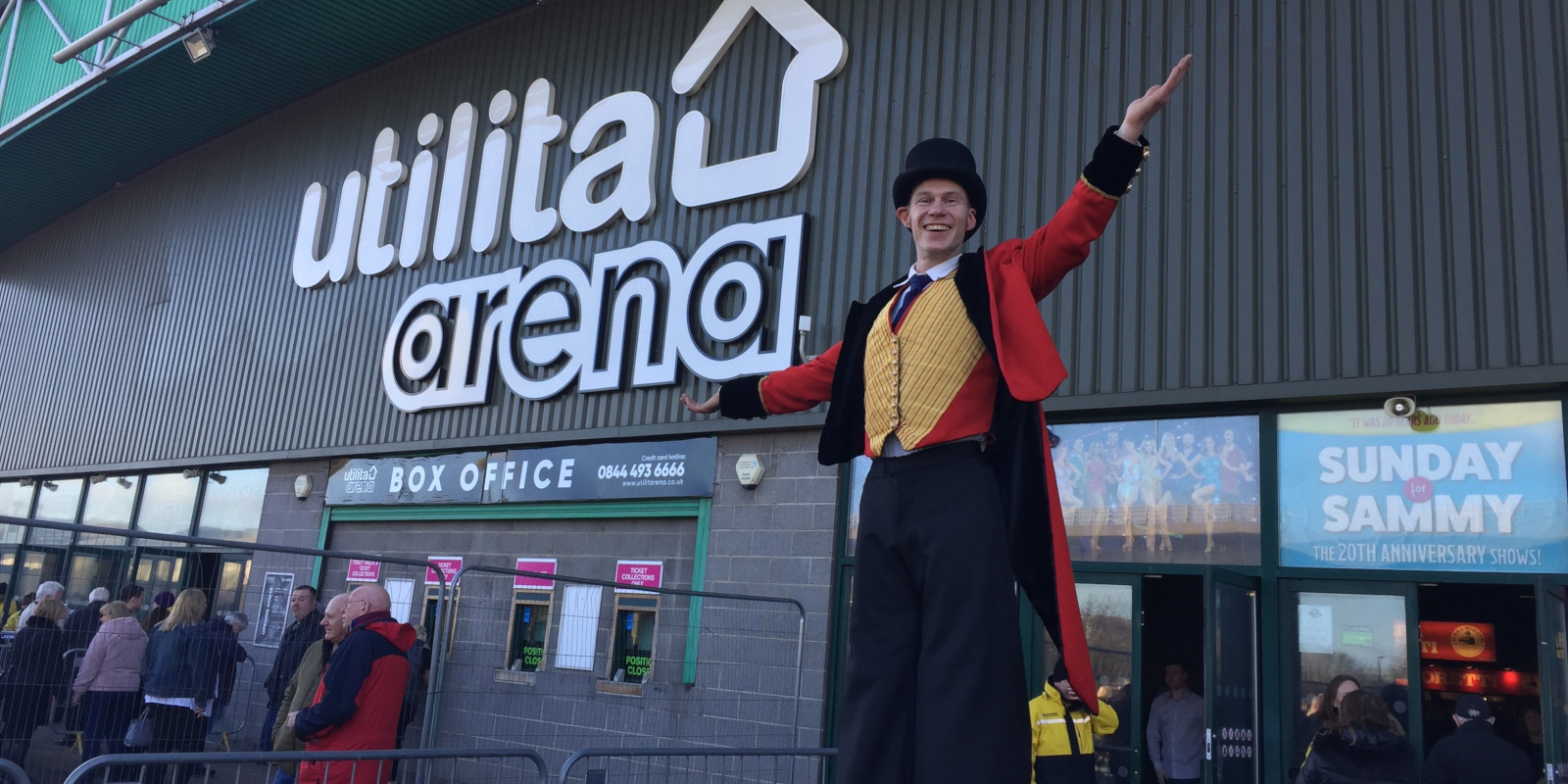 Stilt character at Newcastle Utilita Arena